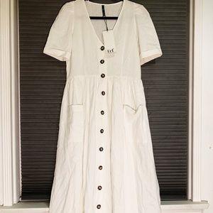 ZARA TRF Collection Midi Linen Dress NWT !!